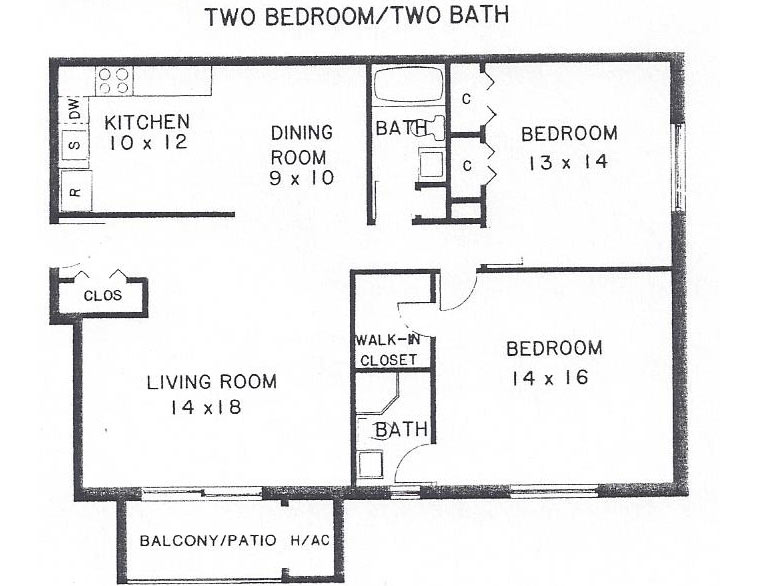 Two bedroom two bath floor plan villa belmont condominiums 2 bedroom 2 1 2 bath house plans